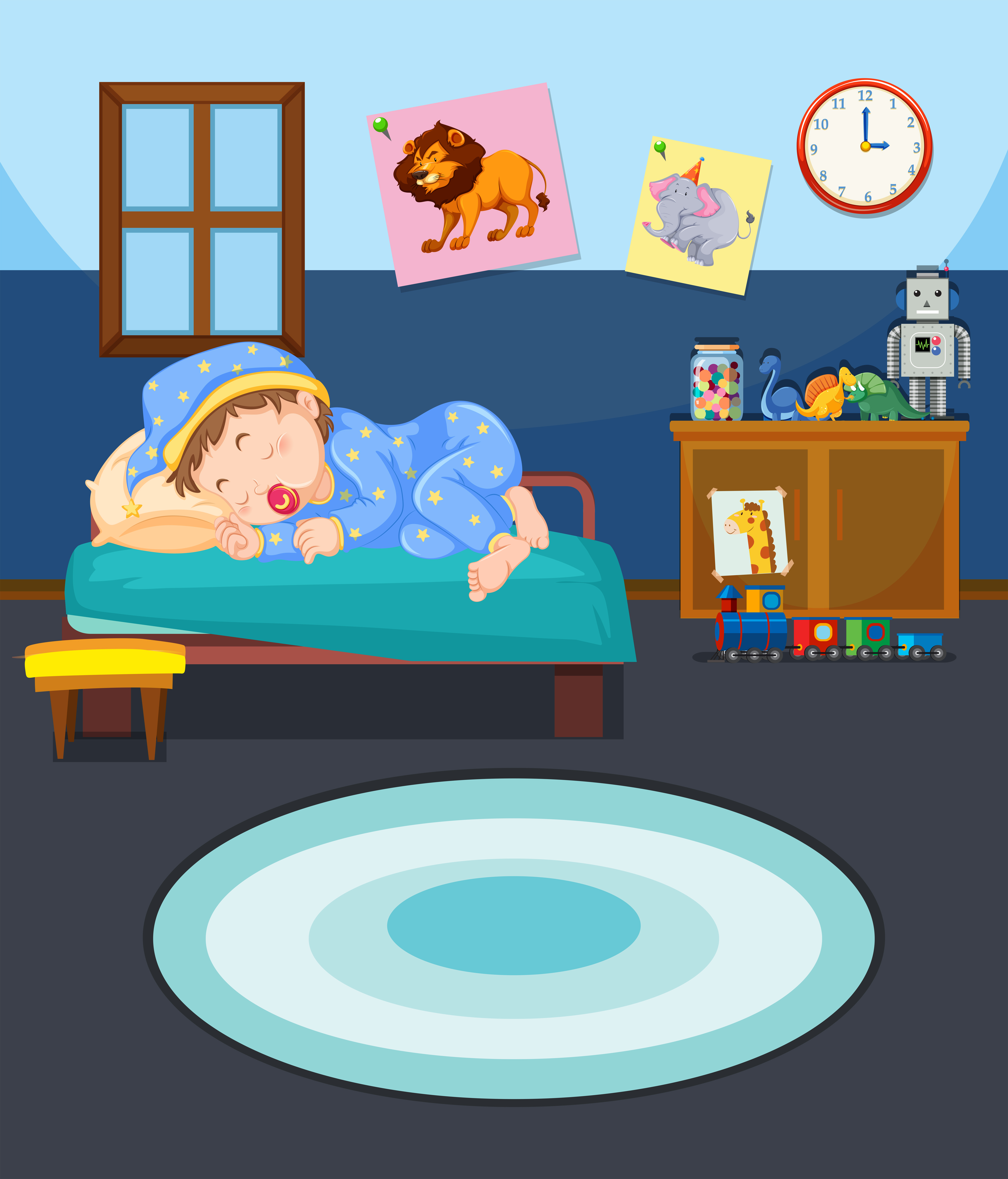 Young boy sleeping scene - Download Free Vectors, Clipart