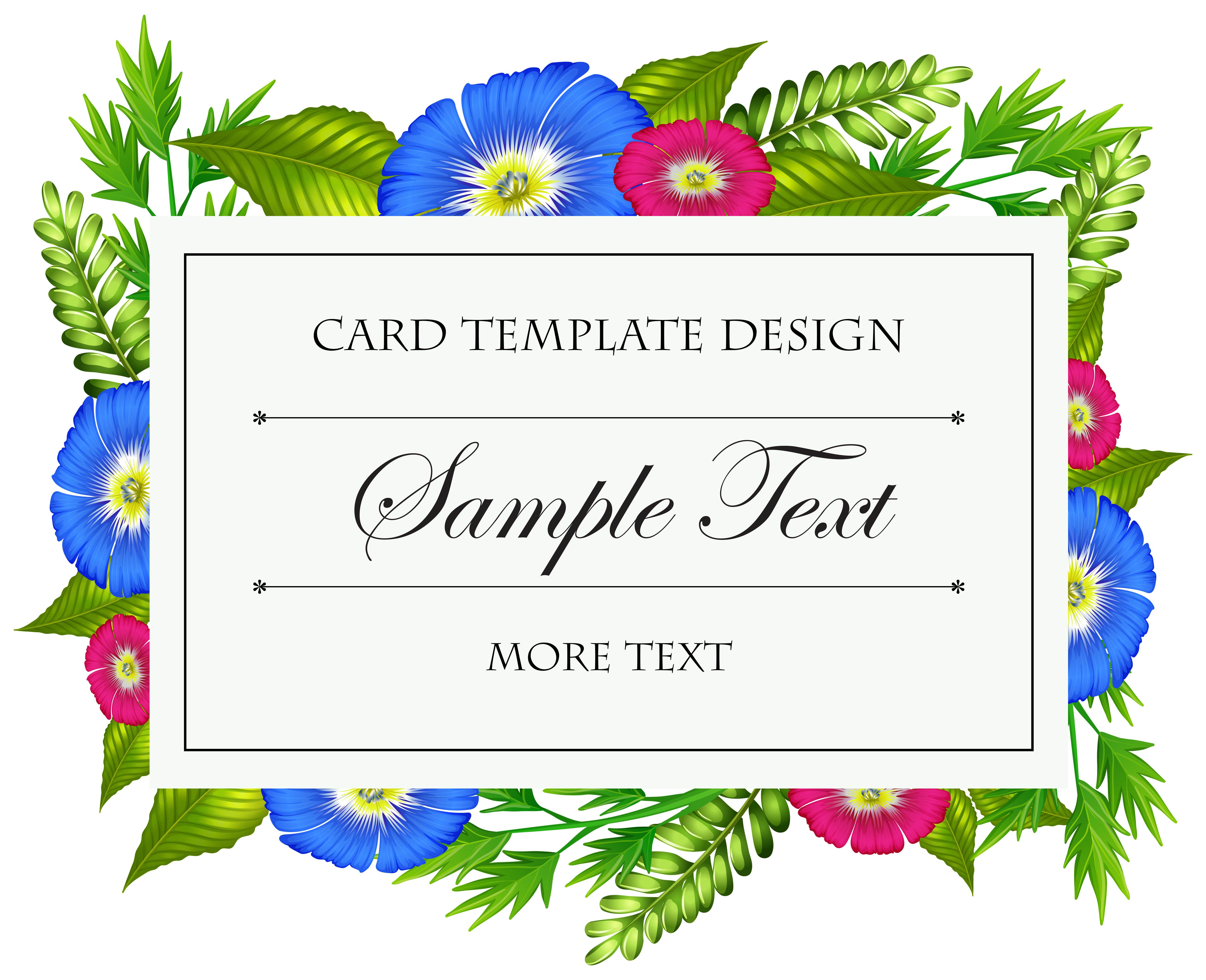 card template with colorful flowers 300558  download free