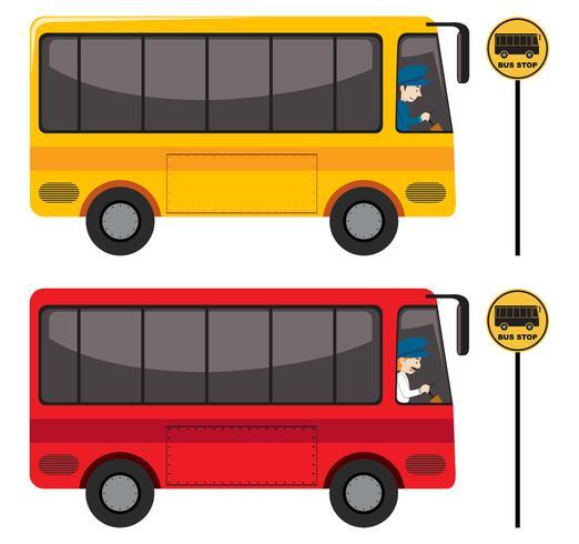 En uppsättning röda och gula bussar