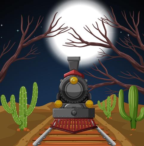 Tren en escena del desierto nocturno.