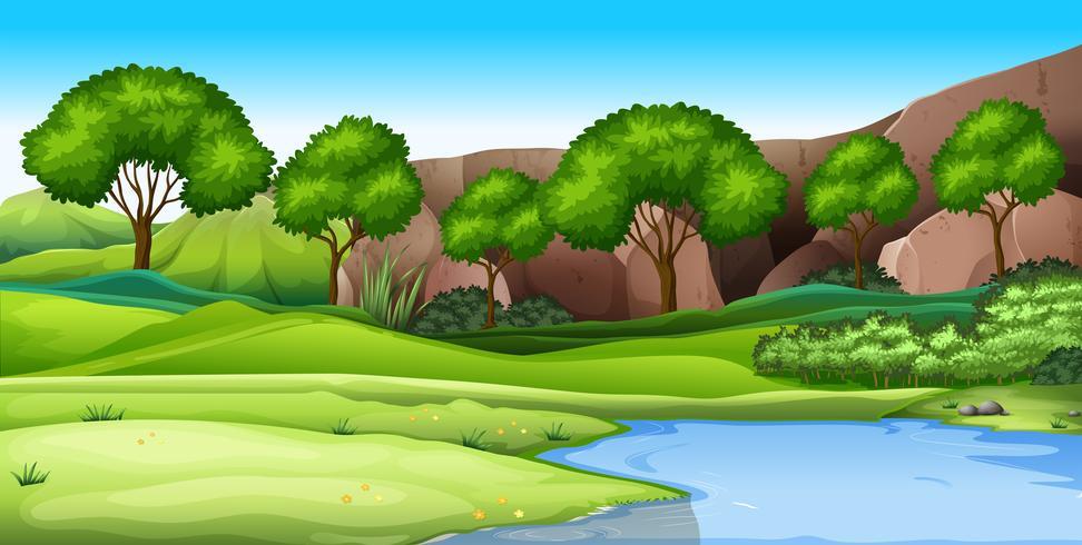 A nature green landscape vector