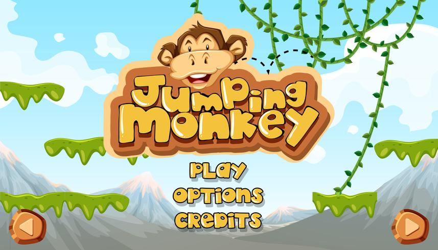 Jumping Monkey Starting Main Template vector