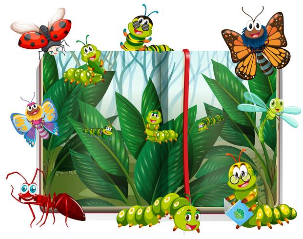 Book with different insects in garden