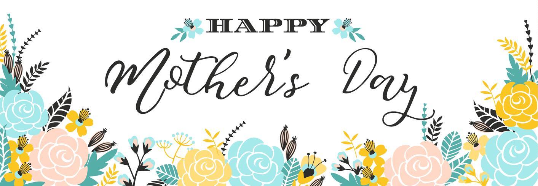 Glückliche Mutter-Tagesbeschriftungsgrußfahne mit Blumen.