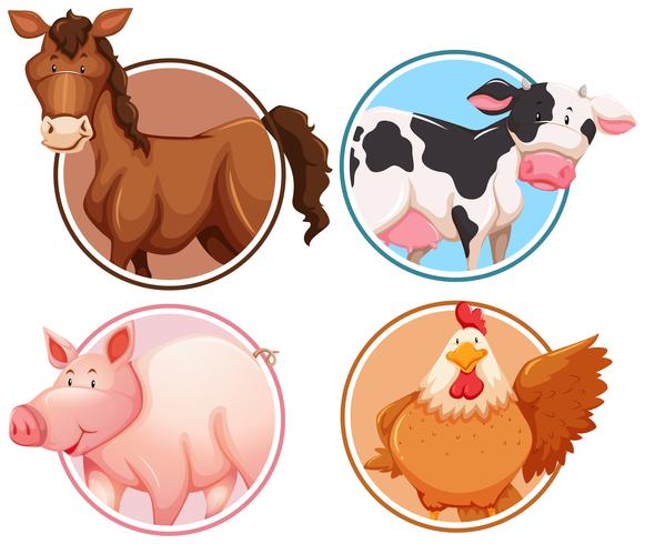 Set of farm animals in circle background