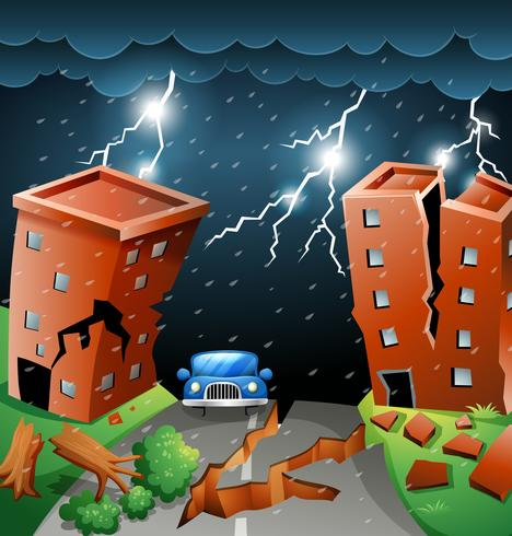 City scape storm scene