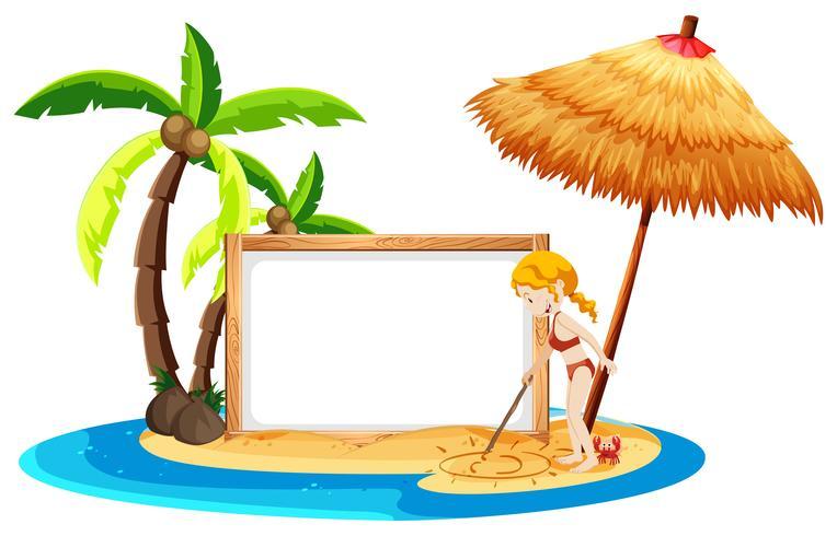 Un banner de playa en blanco con Bikini Girl vector