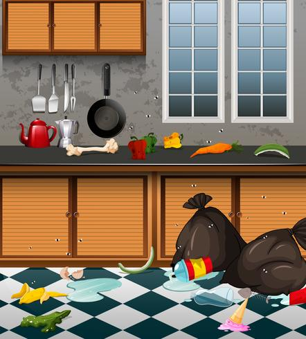 A Dirty Kitchen Full or Waste vector