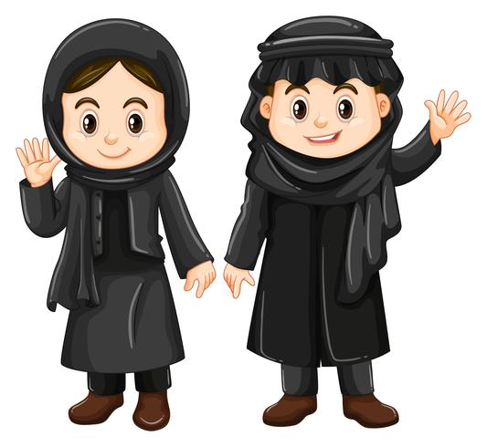 Two Kuwait kids in black costume vector