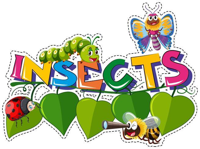 Orddesign för insekter med många insekter på löv