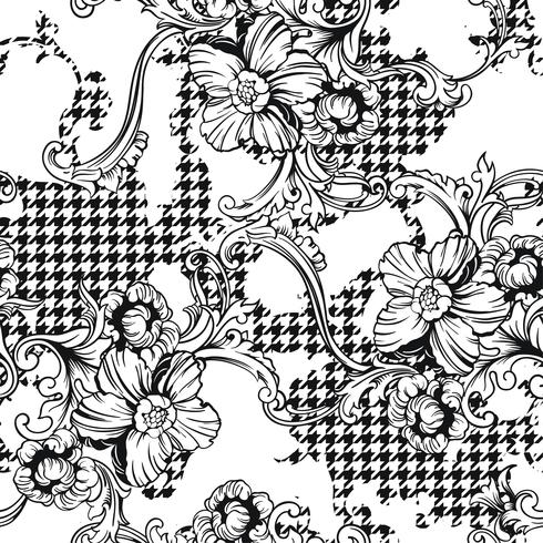 Eclectic fabric plaid seamless pattern with baroque ornament. vector