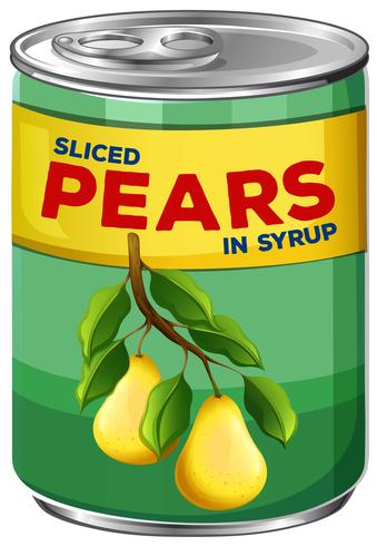 A Can of Sliced Pears in Syrup vector