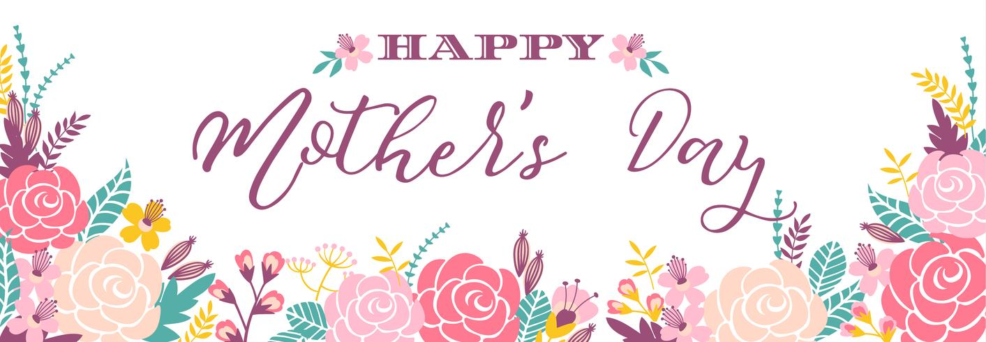 Happy Mothers Day lettering greeting banner with Flowers.