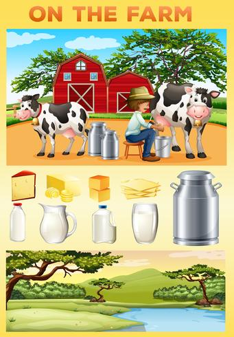 Tema aziendale con contadini e prodotti caseari vettore