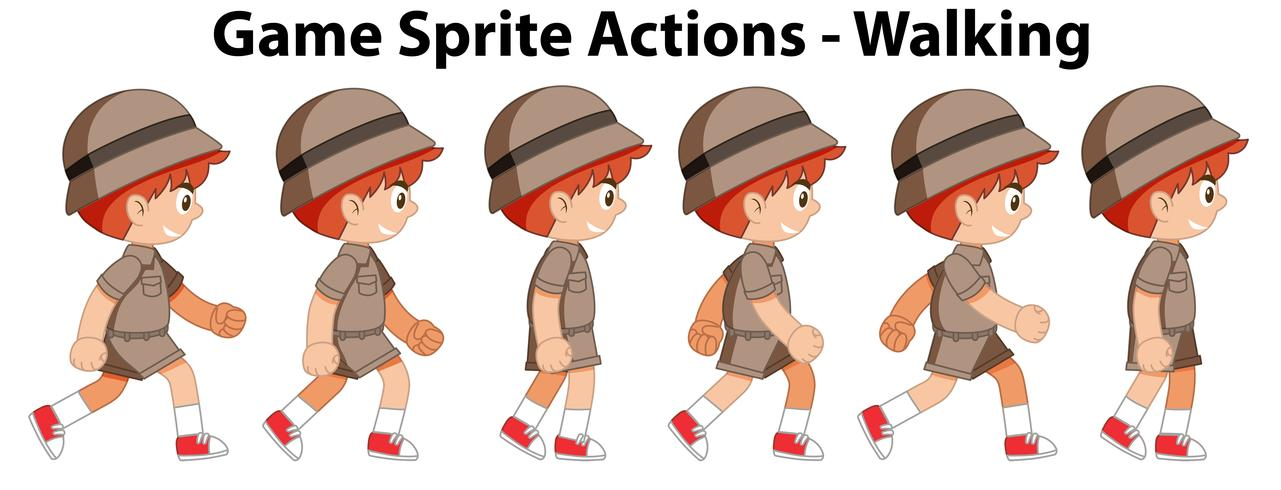 Game sprite actions walking