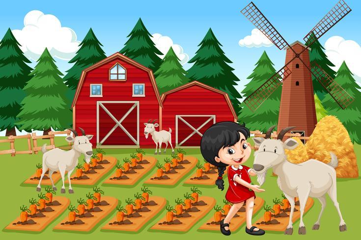 En tjej på jordbruksmark