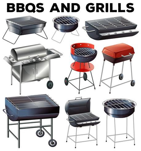 Set of bbqs and grills equipment