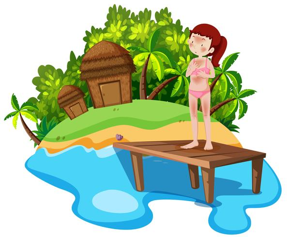 Girl on summer holiday vector