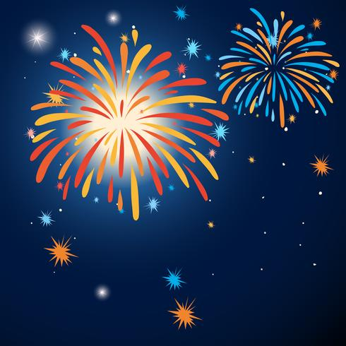 Background design with colorful fireworks vector