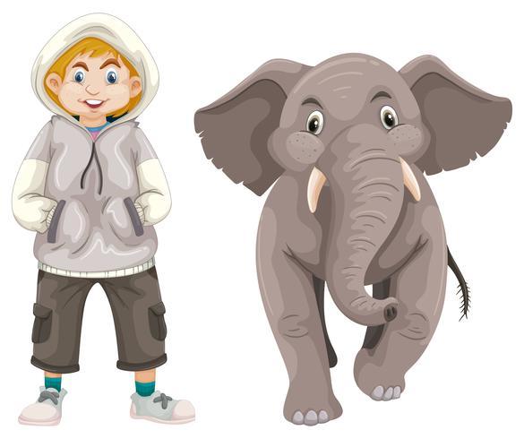 Liten pojke och älskling elefant