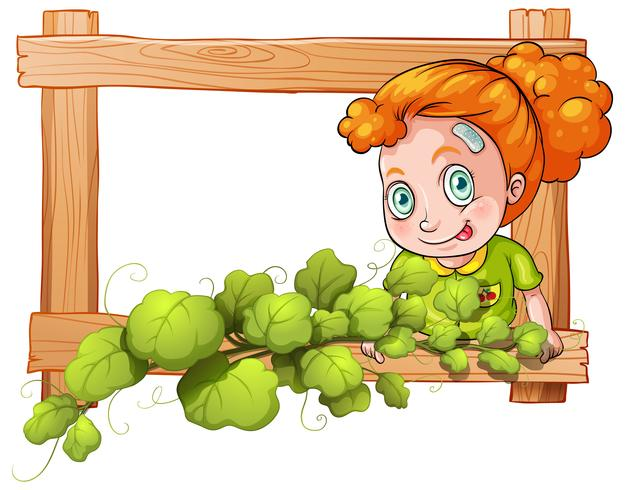 Una cornice con piante di vite e una ragazza