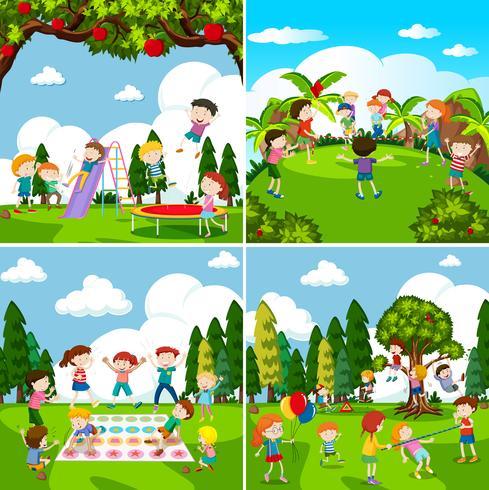 Set di scene di bambini che giocano vettore