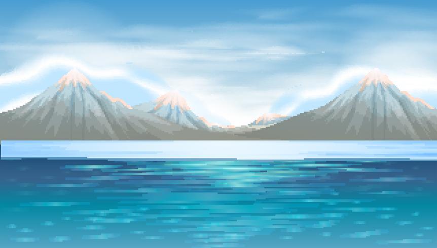 Achtergrondscène met blauw meer en bergen