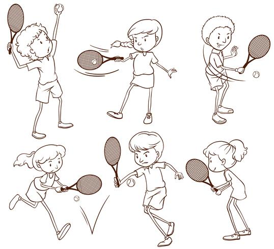 Sketches of people playing tennis
