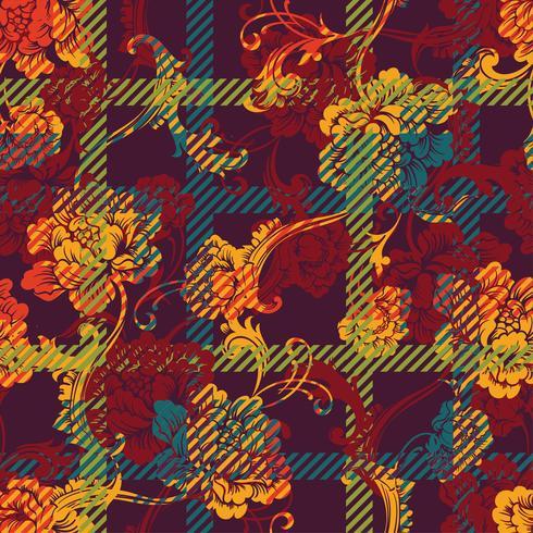 Tejido ecléctico a cuadros de patrones sin fisuras con adorno barroco.