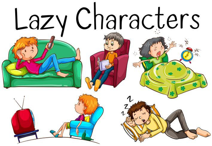 Lazy people doing boring activities vector