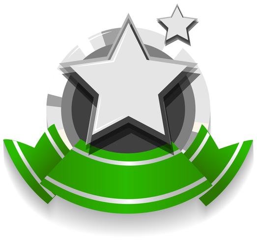 Logo design with ribbon and star