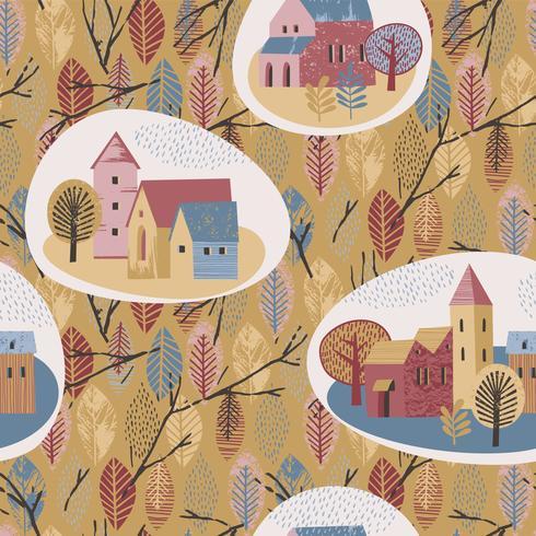Vector seamless pattern of city in the rain. Autumn mood