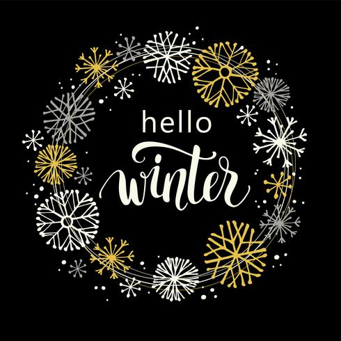 Winter lettering design on snow background with hand drawn snowflake frame.