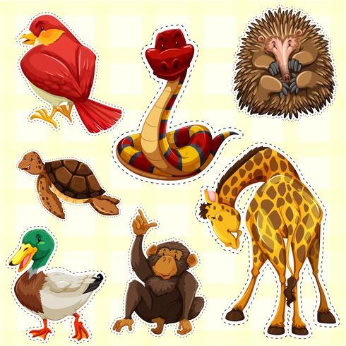 Klistermärke design för djur med lyckligt ansikte vektor
