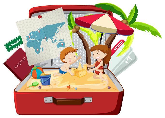 Niños en la playa en el equipaje.
