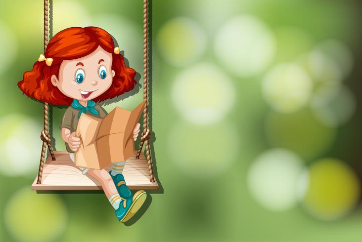 Girl scout sur balançoire