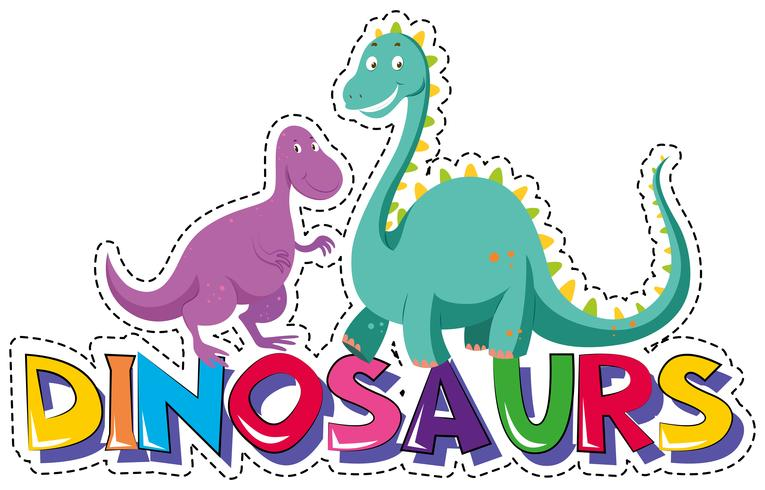 Sticker template for word dinosaurs