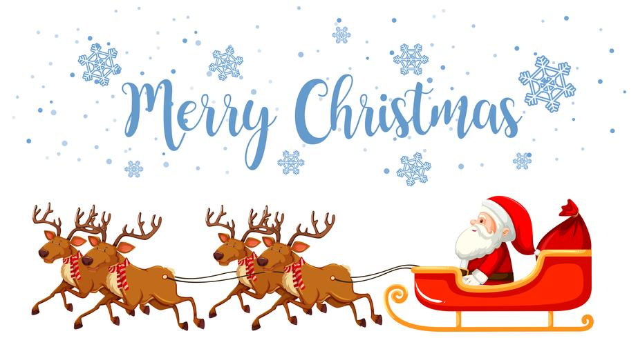 Merry christmas santa and reindeer vector