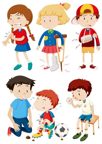 A set of children and accident vector