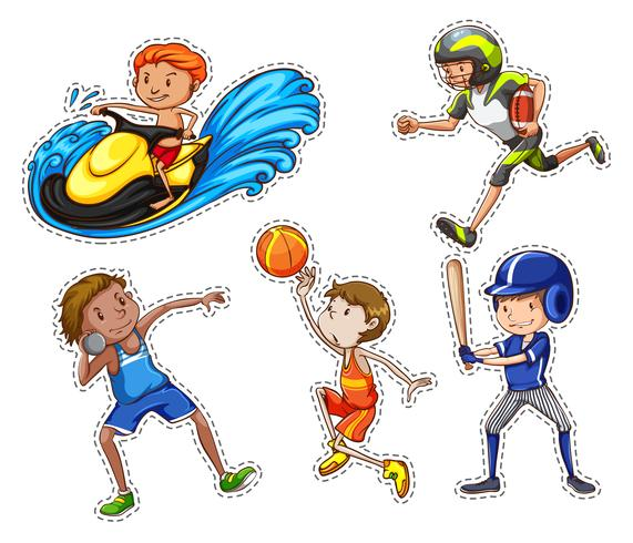 Sticker set with people doing sport vector