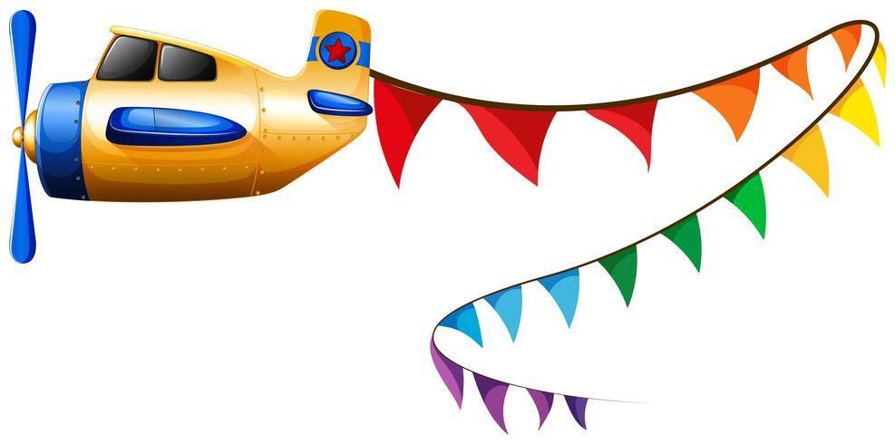 Flugzeugfliegen mit bunten Markierungsfahnen