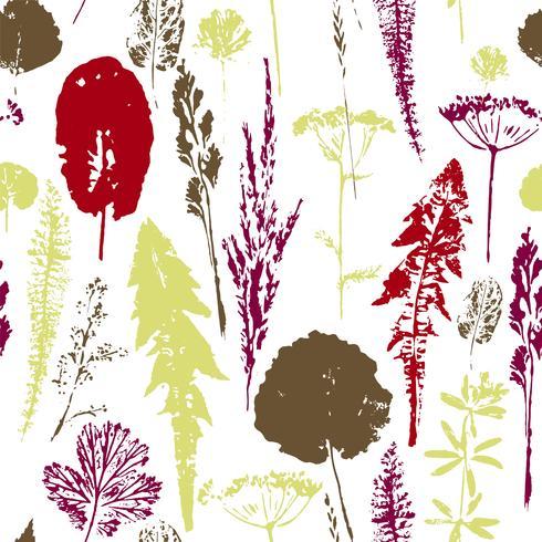 Resumen sin patrón botánico Fondo de hierbas de vector.