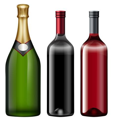 Três, garrafas, de, álcool, bebida