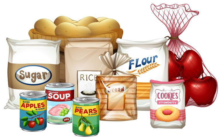 Set of a variety of foods vector