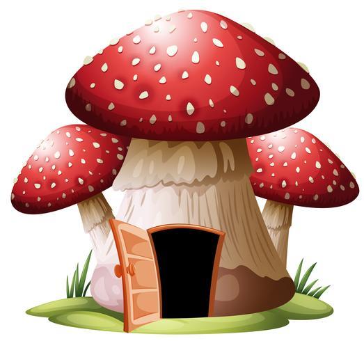A mushroom house on whiyr background vector