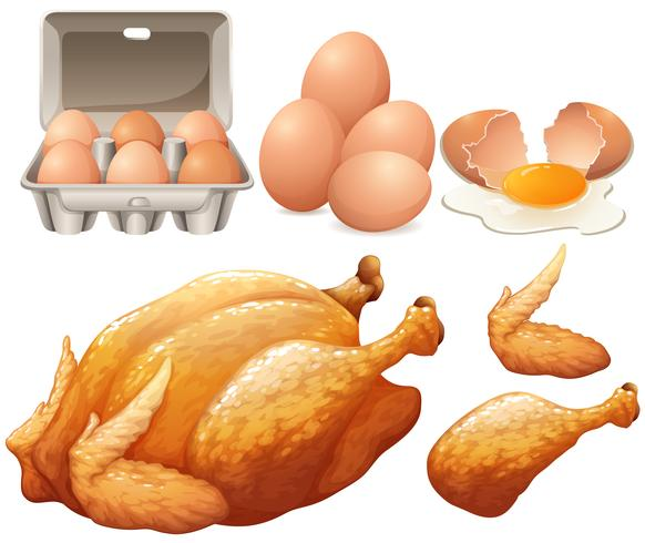 Gebratenes Hähnchen und frische Eier