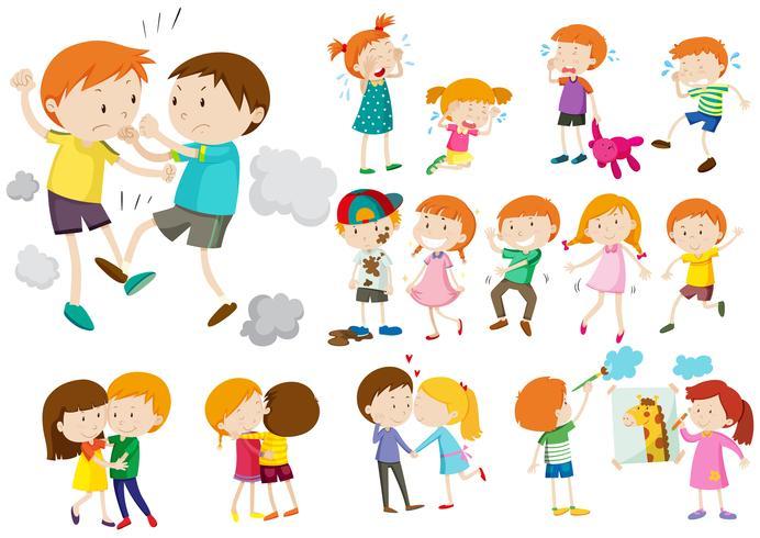 Jongens en meisjes in verschillende acties