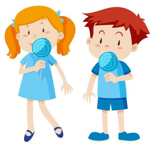 En pojke och en tjej illustration