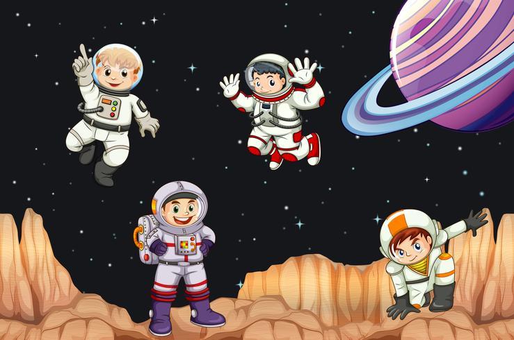 Astronaunts flying in space vector