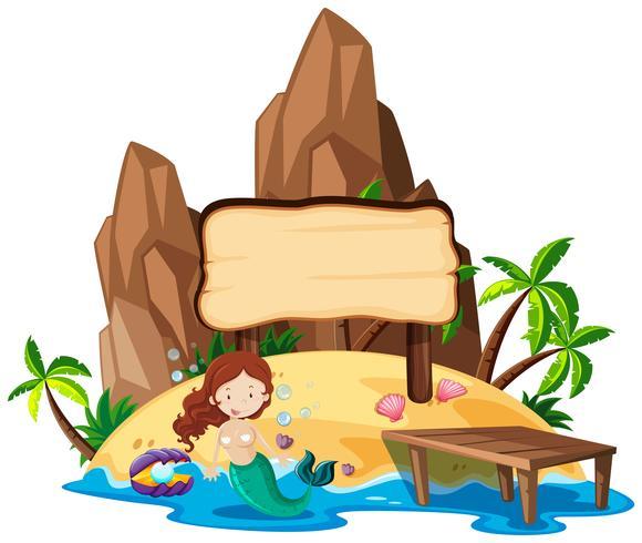 Board template with mermaid on island